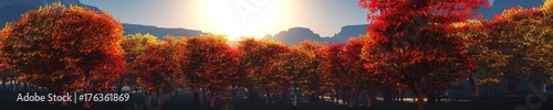 Foto op Plexiglas Bruin Autumn in the mountains, a panorama of autumn trees against the background of mountains