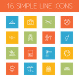 Set Of 16 Travel Outline Icons Set.Collection Of Direction, Front View Tram, Parasol And Other Elements. - 176364215