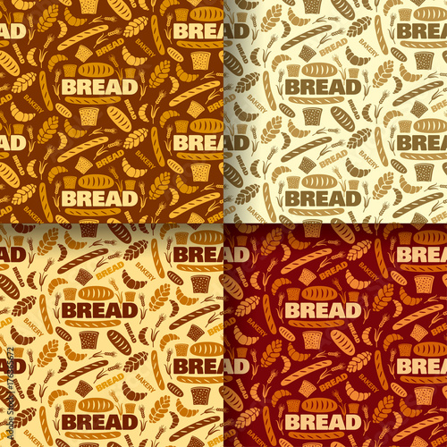 bread and bakery color seamless patterns