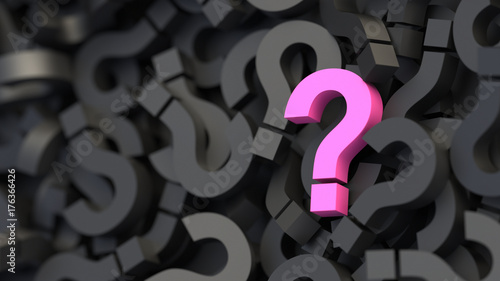 Black and pink question marks background. 3D Rendering.
