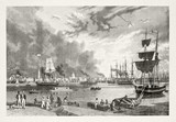 Vintage gray tone illustration of New Orleans port. Ships and people on foreground. - 176367095