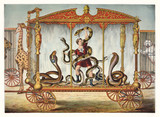 Vintage Illustration of a snake tamer inside a snake circus wagon  - 176367238
