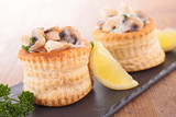 puff pastry filling with mushroom,cream and chicken - 176368897