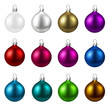 Colorful isolated round Christmas balls set. - 176373022