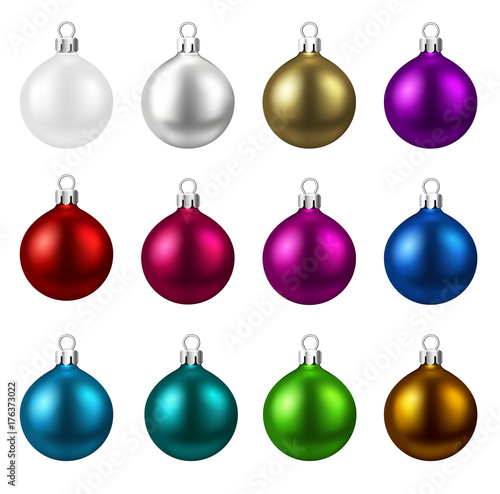 Colorful isolated round Christmas balls set.