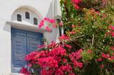 Porte grecque et bougainvilliers - 176373255