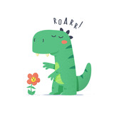 Fototapeta Dinusie - Cute little green dinosaur monster trying to scare flower vector cartoon illustration © Zoran Milic