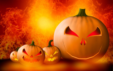 3D rendering - Halloween pumpkin & bats