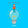 Business woman sitting on idea bulb reading a book. Feed your brain with knowledge. Big idea, motivation, balance, thoughtful, mindfulness, business concept illustration vector.