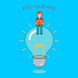 Business woman sitting on idea bulb reading a book. Feed your brain with knowledge. Big idea, motivation, balance, thoughtful, mindfulness, business concept illustration vector. - 176376842