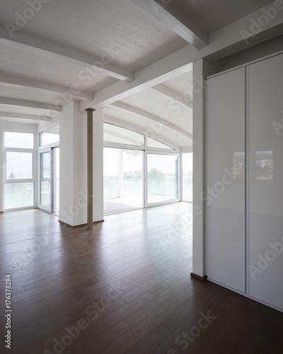 Modern attic, empty living room