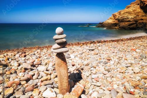 Zen stones at pebble beach