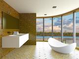 3D-rendering modern bathroom in a big house - 176380072