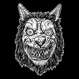 Wolf blackwork tattoo flash concept isolated on white. Angry wolf head. Detailed werewolf mascot illustration. Vector. - 176380092
