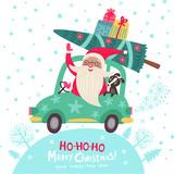Christmas poster with Santa and dog