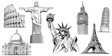 travel destinations-famous placesNYC, London Big Ben, Rome-Coliseum, Paris-Eiffel Tower, Rio de Janeiro-Jesus Statue, NYC-Statue of liberty
