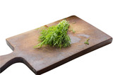 green dill on cutting desk isolated on white background - 176388633