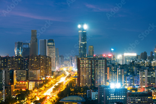 panoramic view of shanghai skyline with huangpu river at dusk - 176389861