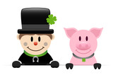 Chimney Sweeper & Pig Holding Banner Silver - 176391881
