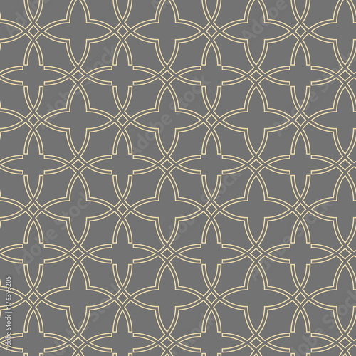 Seamless vector golden ornament in arabian style. Geometric abstract background. Pattern for wallpapers and backgrounds - 176393205