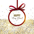 Merry Christmas  greeting vector illustration with golden stars, glitters, sparkles and red round frame for text