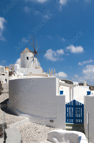 Foto op Aluminium Santorini Windmills on the Island of Santorini, Greece
