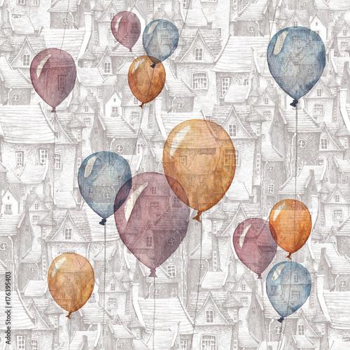 bezszwowy-wzor-z-akwareli-ilustracja-balony-i-stary-miasteczko-na-tle-dachy-europejskie-domy-murowane-i-balony-latajace-romantyczna-bajka