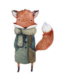 Watercolor illustration of a cute fox in a coat