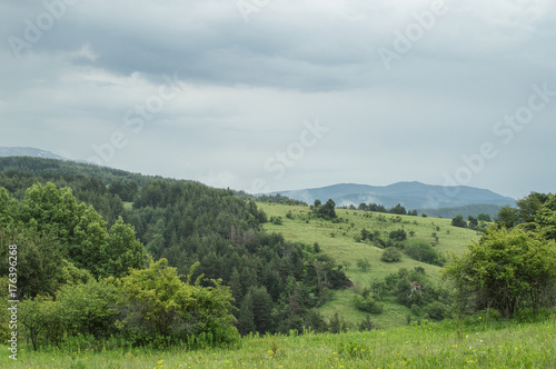 Foto op Aluminium Pistache Summer greens and clouds, Bulgaria