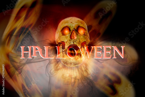 HALLOWEEN / View of skull and wording HALLOWEEN on dark background Poster