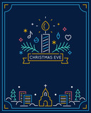 Candle and Ornaments, Winter Town and Church Outline. Christmas Eve Candlelight Service Invitation. Line Art Vector Design - 176398052