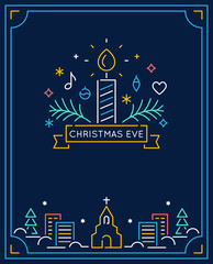Candle and Ornaments, Winter Town and Church Outline. Christmas Eve Candlelight Service Invitation. Line Art Vector Design © juliabatsheva