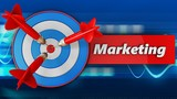 3d blue target with marketing sign - 176399075