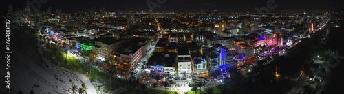 Foto op Aluminium Panoramafoto s Aerial night panorama Miami Beach Ocean Drive