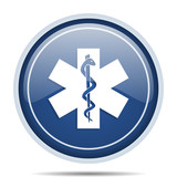Emergency blue round web icon. Circle isolated internet button for webdesign and smartphone applications. - 176404015