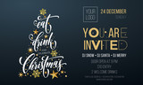 Fototapety Christmas party invitation poster template of golden Christmas tree star and snowflake decoration on premium black background. Vector gold glitter design template for New Year winter holiday party