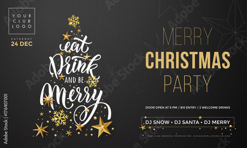 christmas eat drink and be merry party invitation poster template vector golden christmas tree