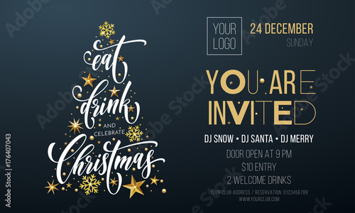 christmas party invitation poster template of golden christmas tree star and snowflake decoration on premium black