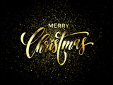 Fototapety Merry Christmas wish greeting card of gold glitter confetti or sparkling fireworks on premium luxury black background. Vector golden calligraphy lettering design for New Year or Christmas holiday