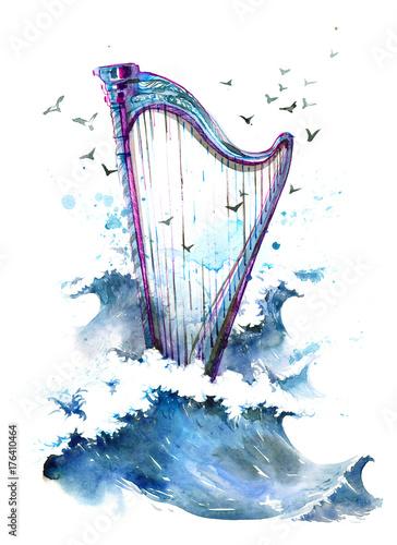 Foto op Aluminium Schilderingen harp