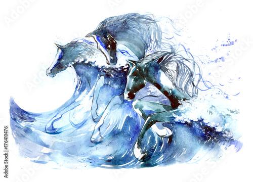 Foto op Canvas Schilderingen horses