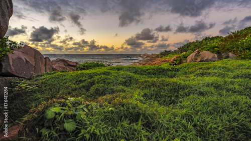Poster Heuvel Lush green grass in the sunrise on the seychelles 1