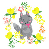 Cute wolf. Hand drawn vector illustration. Animal with heart and flowers. Print for poster, print or t-shirt. - 176413451