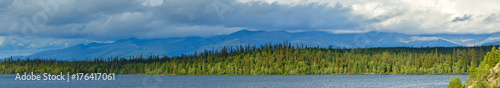 Fotobehang Blauwe jeans Panoramic views of the Khibiny mountains. Photographed on lake Imandra,