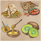Food. Freehands, hand drawn vector collection. Line art technique. - 176419422
