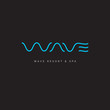Wave line spa logo. W letter. Thin wavy letters on a dark background. - 176421471