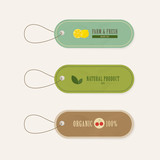 set of tag labels vintage style. natural banner in earth tone themed. - 176421827