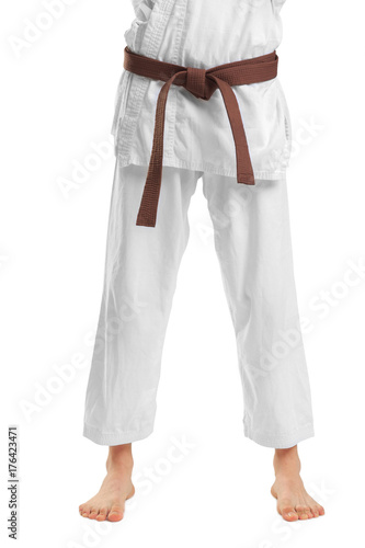 The legs of a man in a kimono. Isolated on white background. Poster