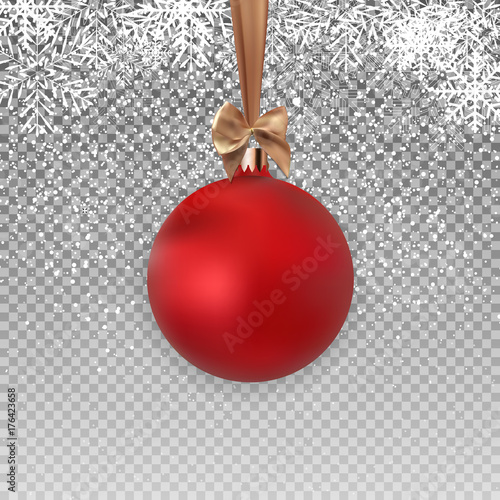 Red Christmas Ball with Ball and Ribbon on Transparent Background Vector Illustration