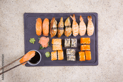 Fotobehang Sushi bar Sushi set on a marble table. top view